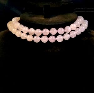 SIGNED Natural Rose Quartz Hand-Knotted Necklace